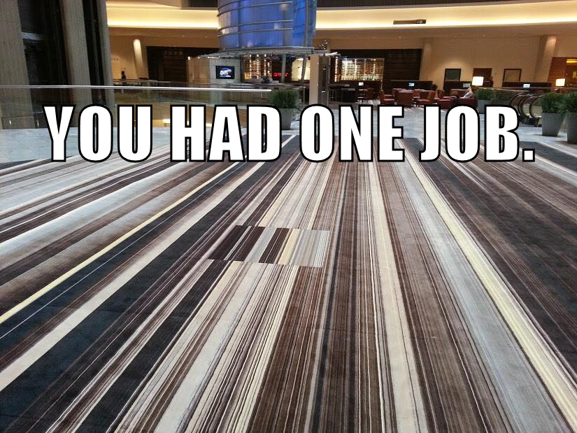 "The new, ugly ""Skid Marks"" carpet in the Atlanta Marriott Marquis hotel."