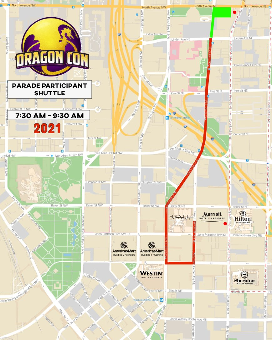 Parade Participant shuttle map 2021 - red stripe